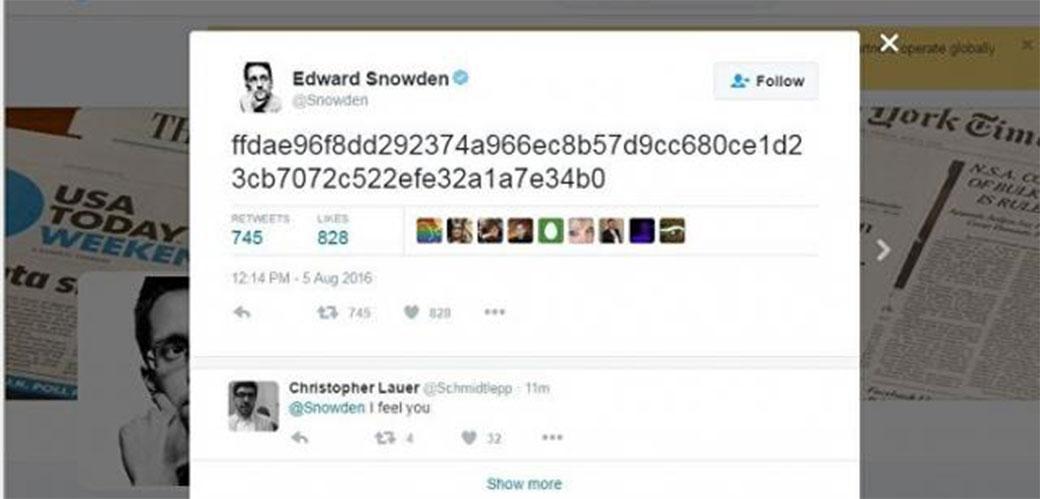 Slika: Šta je to twitnuo Edward Snowden?