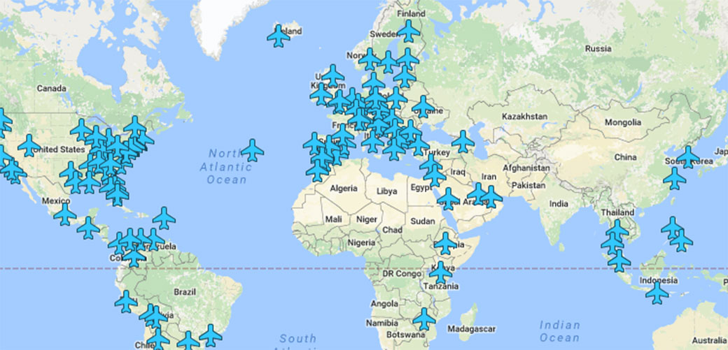 Mapa sa WiFI šiframa na aerodromima širom sveta