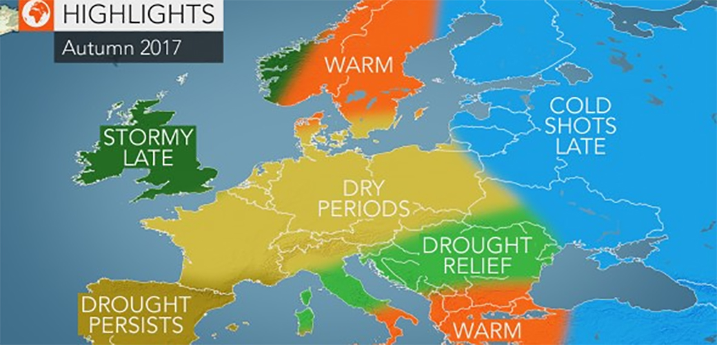 Slika: Dugoročna vremenska prognoza za jesen 2017.