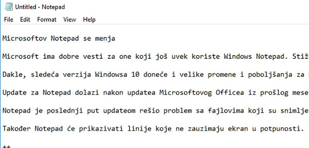 Microsoftov Notepad se menja